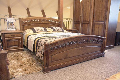 wizualizacja sypialni dębowej drewnianej z łóżkiem amadeusz